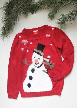Денский новогодний свитер со сниговиком (117), размер 9-10 лет