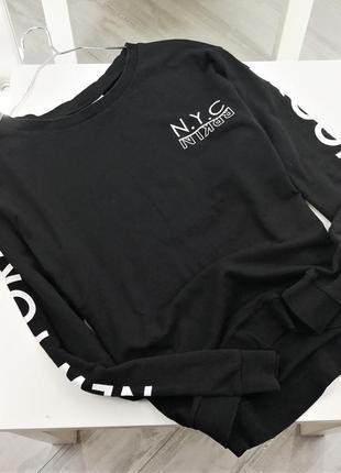 Черный свитшот с принтом в172148 h&m  размер м