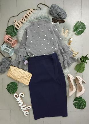 Актуальная юбка миди с декоративным пояском №2