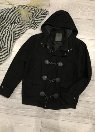 Шерстяное пальто черное кашемировое мужское демисезонное