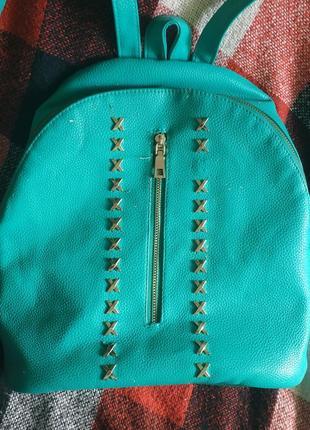 Бирюзовый кожаный рюкзак портфель