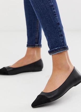 Туфли лодочки балетки с острым носком асос asos oasis