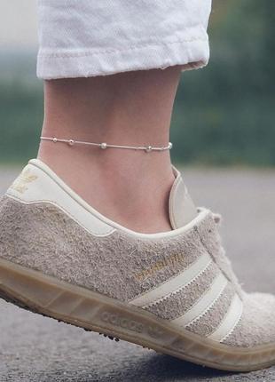 Стильный браслет на ногу посеребренный