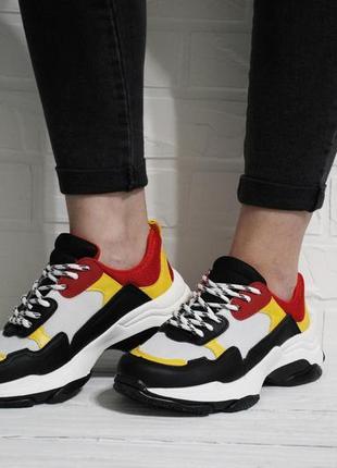 Очень классные разноцветные женские кроссовки (кеды, крипперы) на толстой подошве