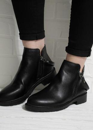 Модные женские черные демисезонные (осенние) ботинки (полуботинки, сапоги)