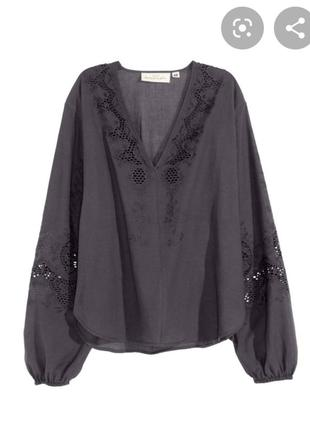 Блуза прошва с широкими рукавами h&m