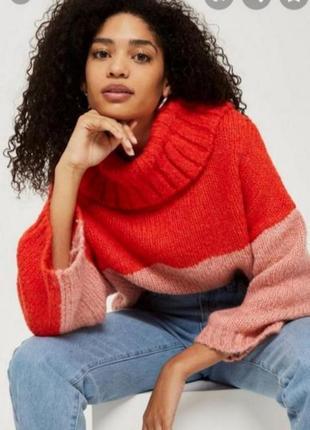 Стильный теплый свитер оверсайз с широкими рукавами от topshop