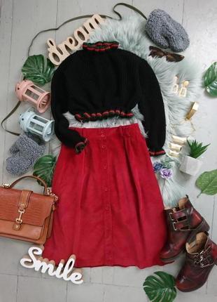 Актуальная вельветовая миди юбка на пуговицах №7