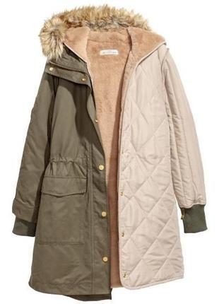 Зимняя парка / деми куртка парка хаки must have hm