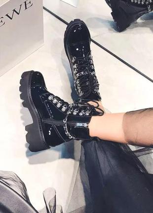 Роскошные женские ботинки из нат.кожи в стиле balmain