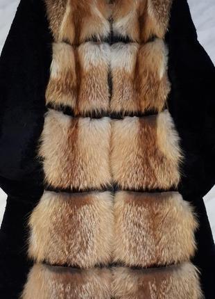 Шуба жилетка из лисы и мутона