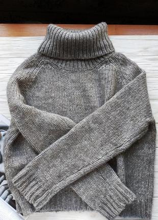 Эксклюзив! серый оверсайз вязанный шерстяной свитер с горлом горловиной acne studios