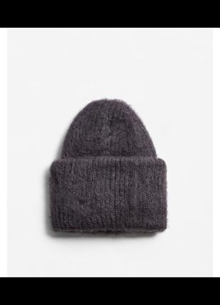 Теплая шапка mango бини шапка beanie серая шапочка теплая