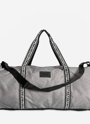 Новая большая серая спортивная сумка pink by victoria's secret