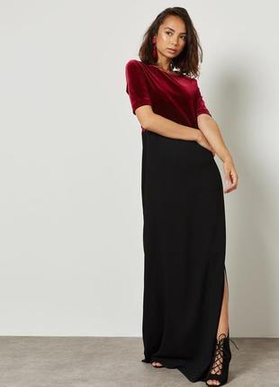 Вечернее платье mango макси платье велюр черное длинное платье на корпоратив