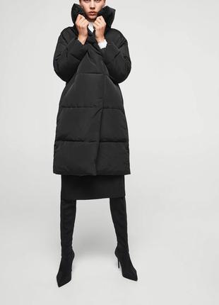 Черное пальто mango зефирка пальто одеяло пуховик искусственный
