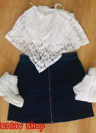 Новая джинсовая юбка трапеция с молнией по центру хит этого года!!!