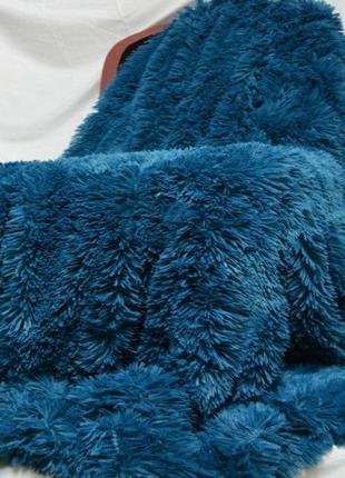 Плед травка пушистый с длинным ворсом морская волна