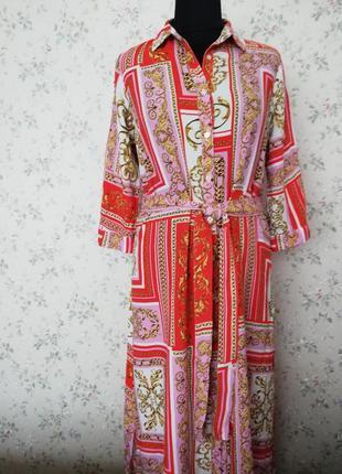 Cукня, сукня-рубашка, сукня-халат, під пояс papaya, миди.1 фото