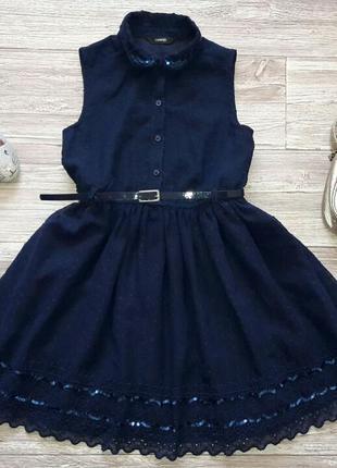 Нарядное платье с поясом 8-9лет