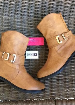 Демисезонные осенние ботинки сапоги!женские!рыжие!коричневые!эко кожаные!