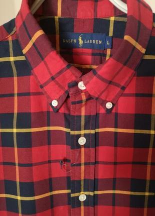 Рубашка клетка  polo ralph lauren l(48)