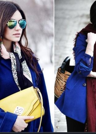 Брендовое синее демисезонное пальто полупальто с карманами marks&spencer этикетка