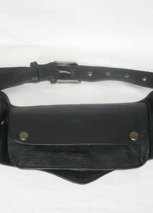 Кожаная поясная тактическая сумка кошелёк три в одном натуральная кожа молнии sun