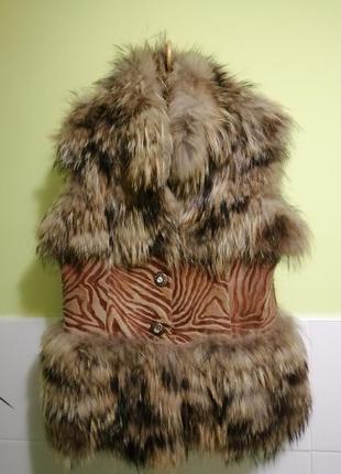 Меховый тёплый жилет жилетка кожа, мех d&g