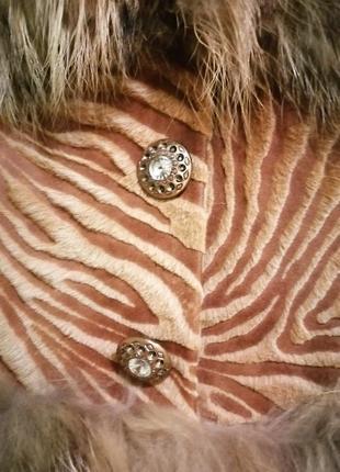 Меховый тёплый жилет жилетка кожа, мех d&g2 фото