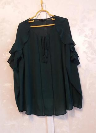 Блуза с рюшами на рукавах new look curves