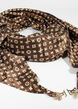 Стильный платок, косынка louis vuitton цвета кофе, атлас, цена - 203 ... 516264938f1
