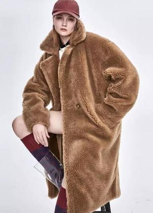 Искусственная шуба шубка тедди меховое пальто  пальто оверсайз