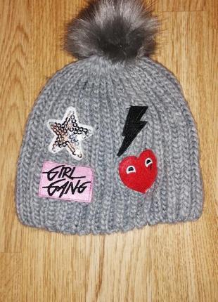 Шапочка шапка на девочку демимезонная с помпоном