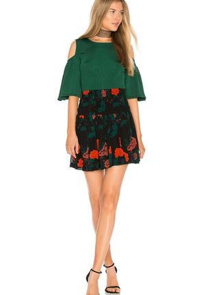 Крута спідничка ganni в принт квіти юбка в цветы премиум бренд