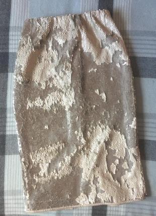Блестящая юбка андре тан расшитая пайетками
