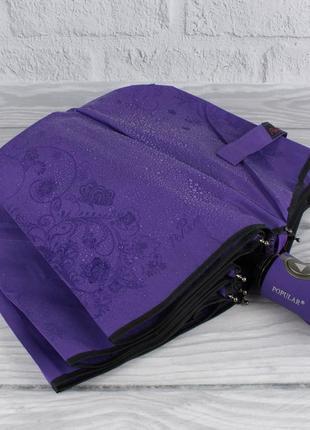 Качественный складной зонт полуавтомат popular 846-2p фиолетовый с проявляющимся рисунком