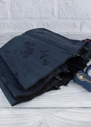 Качественный складной зонт полуавтомат popular 846-3p синий с проявляющимся рисунком