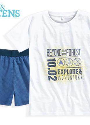 Новая пижама: футболка и шорты на мальчика teens&tens р. xs 40 или 146-152 см 11-12 лет