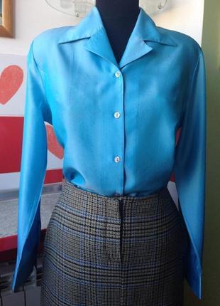 Французский комплект: юбка в клетку и блуза из натурального шелка - м