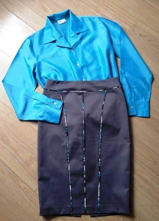 Элегантный и очень красивый комплект: юбка-карандаш-италия и блуза - s/м