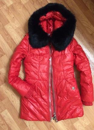 Очень теплая зимняя куртка пуховик 2 в 1 натуральный пух и натуральный мех
