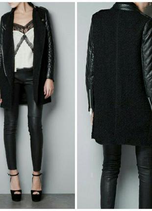 Пальто - косуха с кожаным рукавом на 14-16/ 48-50 размер