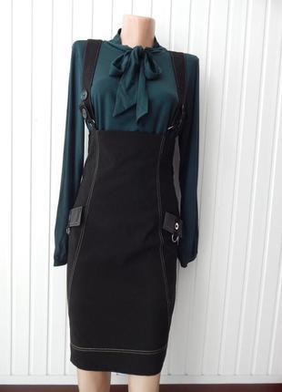Классический чёрный сарафан-юбка турция