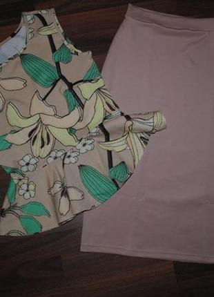 Костюм с юбкой блуза с баской