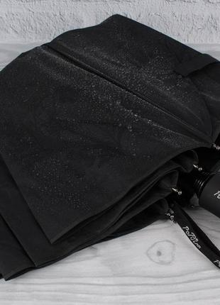 Качественный складной зонт полуавтомат popular 846-6р черный с проявляющимся рисунком