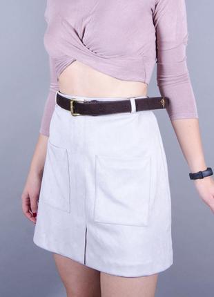 Мини юбка трапеция, замшевая юбка с высокой посадкой, короткая серая юбка
