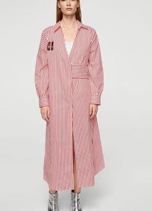 Стильное хлопковое платье халат mango на запах в полоску