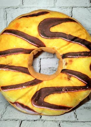 Декоративная подушка с 3d принтом пончик, шоколадные полоски, 35 см