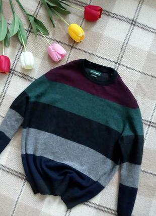 Шерстяной свитер пуловер колорблок теплый и мягкий